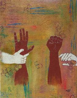 """""""Hands Up. Fists Up."""", 22x28 (wired to hang), $512"""