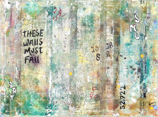 """These Walls"", 18x24, $374 - These Walls is a condemnation of the physical and social walls that have been created to other immigrants. The letters and numbers on the painting each hold meaning. *52,722 - an estimate of the number of people in detainment as of September 10, 2019 *JML - Johana Medina Leon was a transgender asylum seeker from El Salvador that died this year in ICE custody *10,8,2,16 - the ages of just some of the children that died this year while in detainment *LAT - Luis Alonzo Tábora was shot and killed in 2019 less than a day after being deported back to Hondorus."